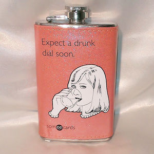 "Glitter Retro ""Expect a Drunk Dial"" Flask - 2 pack"